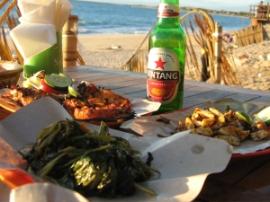 My last dinner in Bali, at a seafood place on the beach.
